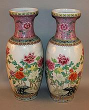 A LARGE MIRROR PAIR OF CHINESE FAMILLE ROSE PORCEL