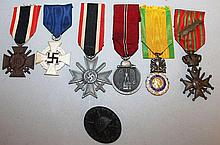 SIX VARIOUS MEDALS, GERMAN AND FRENCH WITH RIBBONS