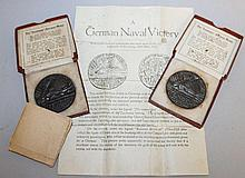 TWO LUSITANIA (GERMAN) BRONZE MEDAL in original bo