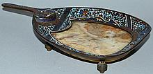 A 19TH CENTURY FRENCH MARBLE AND CHAMPLEVE ENAMEL