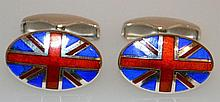 A PAIR OF SILVER AND ENAMEL UNION FLAG CUFFLINKS.