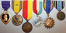 SIX MEDALS, VARIOUS, with ribbons.