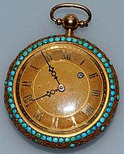 A GOOD 18CT GOLD AND TURQUOISE FRENCH POCKET WATCH