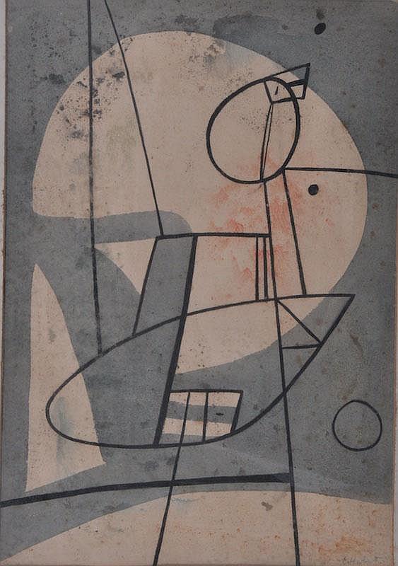 EDGAR HUBERT Abstract. Watercolour. 14 x 10ins.