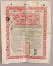 A CHINESE IMPERIAL GOVERNMENT GOLD LOAN BOND 1898, £25 & 5%, with attached