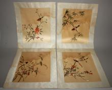 A SET OF FOUR 20TH CENTURY CHINESE EMBROIDERED PICTURES ON SILK, each depic