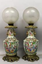 A GOOD LARGE PAIR OF 19TH CENTURY ORMOLU MOUNTED CANTON PORCELAIN VASES, fi