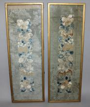 A PAIR OF 19TH/20TH CENTURY FRAMED CHINESE SILK EMBROIDERIES, each embroide