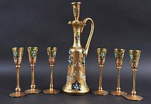 A VENETIAN GLASS LIQUER DECANTER, STOPPER AND SIX