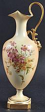 A TALL ROYAL WORCESTER EWER painted with flowers