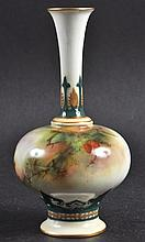 A ROYAL WORCESTER HADLEY WARE VASE painted with a