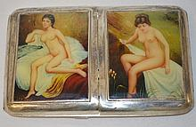 A SILVER DOUBLE FOLDING CIGARETTE CASE, the lid