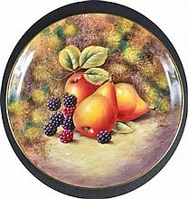 A ROYAL WORCESTER CIRCULAR DISH painted with fruit