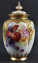 A FINE ROYAL WORCESTER VASE AND COVER, painted
