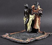 A VERY GOOD AUSTRIAN COLD PAINTED BRONZE GROUP, a