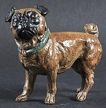 A COLD PAINTED PUG DOG. 4ins long.
