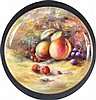 A RARE ROYAL WORCESTER CIRCULAR DISH, painted with