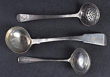 A GEORGE III ENGRAVED SILVER SPOON, London 1795