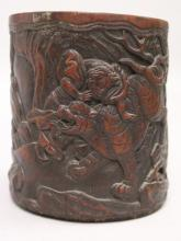 AN UNUSUAL CHINESE CARVED BAMBOO BRUSHPOT