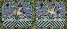 A PAIR OF 20TH CENTURY CHINESE 4TH GRADE MACHINE WOVEN SILK RANK BADGES