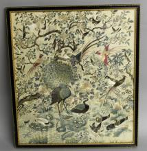 A FINE QUALITY 19TH CENTURY CHINESE EMBROIDERED SILK PICTURE
