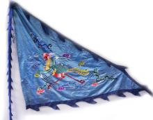 A GOOD & UNUSUAL LARGE EARLY 20TH CENTURY CHINESE EMBROIDERED SILK BLUE GROUND PHOENIX BANNER