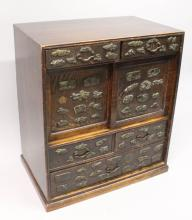 A LATE 19TH CENTURY JAPANESE MENUKI ONLAID WOOD CABINET