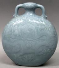 A GOOD QUALITY CHINESE CLAIRE-DE-LUNE PORCELAIN MOON FLASK