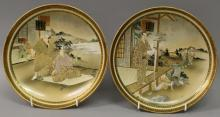 A PAIR OF SIGNED JAPANESE SATSUMA EARTHENWARE DISHES
