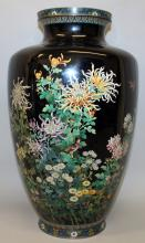 A LARGE GOOD QUALITY JAPANESE MEIJI PERIOD BLACK GROUND CLOISONNE VASE