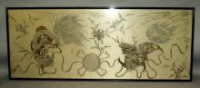 A VERY LARGE EARLY 20TH CENTURY FRAMED CHINESE CREAM GROUND SILK EMBROIDERY