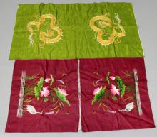 TWO EARLY 20TH CENTURY CHINESE SILK CUSHION COVERS