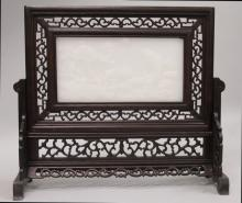 A CHINESE HARDWOOD & WHITE JADE-LIKE TABLE SCREEN