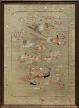 A VERY LARGE 19TH/20TH CENTURY FRAMED ORIENTAL EMBROIDERY
