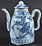 A 19TH CENTURY CHINESE BLUE AND WHITE TEAPOT AND