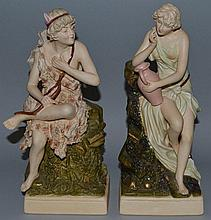 A PAIR OF ROYAL DUX PORCELAIN FIGURES OF TWO CLASS