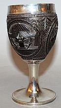 A GEORGE III SILVER MOUNTED MASONIC COCONUT GOBLET