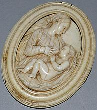 A 17TH CENTURY EUROPEAN IVORY OVAL PLAQUE, woman f