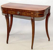 """A GEORGE III MAHOGANY FOLD-OVER CARD TABLE, of """"D"""""""