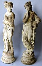 A RECONSTITUTED PAIR OF GARDEN ORNAMENTS modelled