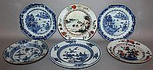 SIX VARIOUS 18TH CENTURY CHINESE PLATES.