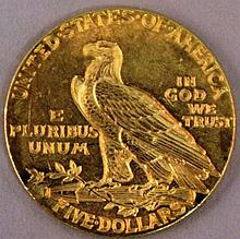 AN AMERICAN 1912 FIVE DOLLAR GOLD COIN.