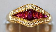 A SUPERB RUBY AND DIAMOND RING set in 18ct yellow