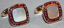 A GOOD PAIR OF RUBY AND MOTHER-OF-PEARL 9CT GOLD S