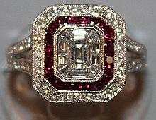 A SUPERB RUBY AND DIAMOND CLUSTER RING set in 18ct