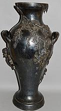 A LARGE WMF PEWTER TWO HANDLED VASE with cupids, t