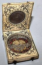 A 17TH CENTURY DIEPPE IVORY AZIMUTH DIAL by CHARLE