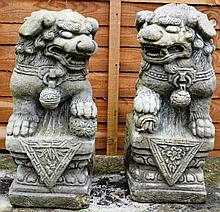 A PAIR OF RECONSTITUTED STONE MODELS OF CHINESE LI