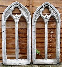 A PAIR OF RECONSTITUTED STONE GOTHIC WINDOW STYLE