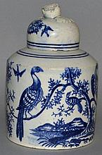 A WORCESTER BLUE AND WHITE PATTERN TEAPOT AND COVE